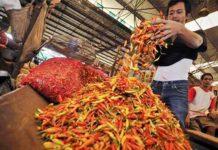 HARGA CABAI MASIH 'PEDAS': Harga cabai mulai turun namun masih tinggi, terutama di sejumlah pasar di Surabaya dan Malang.   Foto: Ist