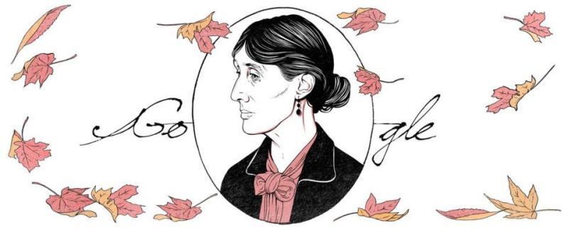 NOVELIS AGUNG: Sketsa wajah novelis agung, Virginia Woolf menghiasi Google Doodle Kamis (25/1) hari ini. | Ilustrasi: Google