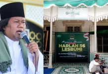 "HARLAH KE-56 LESBUMI: Gus Muwafiq (kiri) yang fenomenal dan persiapan pengajian umum ""Kidung Munajat Rabiah Al Adawiyah"" yang digelar Lesbumi Surabaya. | Foto: Ist"