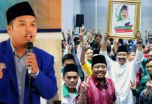 PMII VERSUS JAMPI: Ketua I PKC PMII Jatim, Abdul Goni (kiri) dan deklarasi Jampi mendukung Gus Ipul-Puti. | Foto: Ist