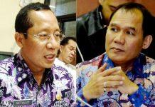 POLEMIK PERIZINAN TKA: Kadisnakertrans Jatim, Setiajit (kiri) luruskan kritik politikus Gerindra, Bambang Haryo soal perizinan TKA. | Foto: Ist