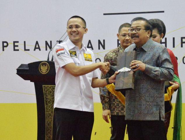 HIPMI JATIM: Gubernur Soekarwo menghadiri pelantikan BPD HIPMI Jatim Periode 2018-2021 di Gedung Negara Grahadi Surabaya, Kamis (1/3). | Foto: Ist