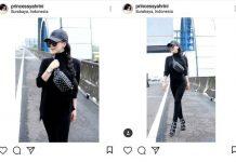 BAHAYA DAN MELANGGAR: Artis Syahrini saat melakukan sesi pemotretan di Jalan Tol Waru-Juanda yang diunggak di akun Instagram-nya. | Foto: Capture Instagram