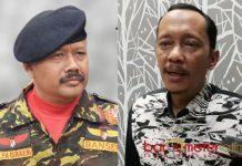 ANSOR JANGAN VAKUM: Hasan Aminudin (kanan) usulkan Alfa Isnaeni (kiri) sebagai Plt ketua PW GP Ansor Jatim. | Foto: Barometerjatim.com/ROY HASIBUAN/IST