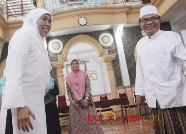 SILATURAHIM KE PONPES: Cagub Khofifah Indar Parawansa di Pondok Pesantren Al Hikmah Mlaten Kauman, Tulungagung, Minggu (22/4). | Foto: Barometerjatim.com/MARIJAN AP