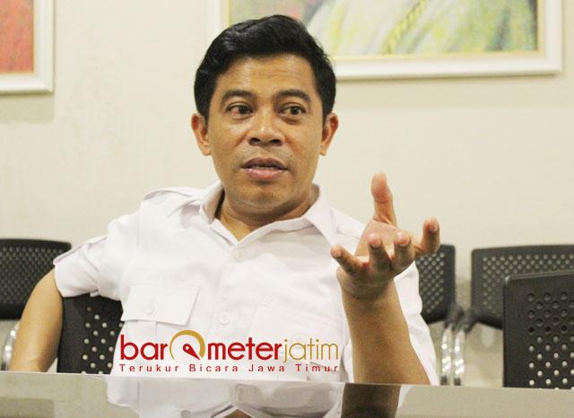 LASKAR MERAH PUTIH: Soepriyatno, Laskar Merah Putih didirikan untuk menguatkan kinerja Gerindra dalam kontestasi Pemilu 2019.   Foto: Barometerjatim.com/ROY HASIBUAN