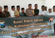 CEGAH TERORISME: Polres, Kodim 0812 Lamongan dan tokoh agama se-Kabupaten Lamongan bertekad cegah terorisme dan radikalisme. | Foto: Barometerjatim.com/HAMIM ANWAR