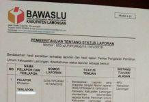 REKOMENDASI PANWASLU: Panwaslu Lamongan mengeluarkan tiga rekomendasi terkait laporan dugaan pelibatan PKH dalam Pilgub Jatim 2018. | Foto: Barometerjatim.com/ HAMIM ANWAR