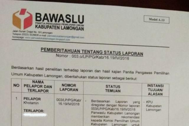 REKOMENDASI PANWASLU: Panwaslu Lamongan mengeluarkan tiga rekomendasi terkait laporan dugaan pelibatan PKH dalam Pilgub Jatim 2018.   Foto: Barometerjatim.com/ HAMIM ANWAR