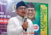 SOSIALISASI EMPAT PILAR: Muhaimin Iskandar Sosialisasi empat pilar kebangsaan di Masjid Agung Lamongan, Rabu (13/6). | Foto: Barometerjatim.com/HAMIM ANWAR