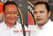 DUGAAN POLITIK UANG: Muslih HS (kiri) minta Ketua Panwaslu Lamongan, Toni Wijaya panggil Gus Ipul dalam dugaan politik uang. | Foto: Barometerjatim.com/HAMIM ANWAR