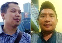 'CACAT' INTEGRITAS: Muhammad Yanto (kanan) menyoal Agus Mahfudz Fauzi (kiri) yang pernah disanksi DKPP kini menjadi anggota Timsel Bawaslu Jatim. | Foto: Ist