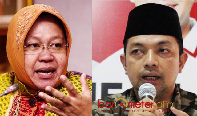 'AKROBAT POLITIK' RISMA: Gus Hans (kanan) sebut Risma (kiri) hanya mencari kredit poin agar tak dipecat Megawati Soekarnoputri dari PDIP. | Foto: IST/Barometerjatim.com/ABDILLAH HR