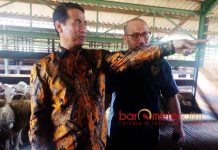 KANDANG KARANTINA TANDES: Menteri Pertanian, Andi Amran Sulaiman di Kandang Karantina Tandes, Surabaya, Kamis (28/6). | Foto: Barometerjatim.com/NANTHA LINTANG
