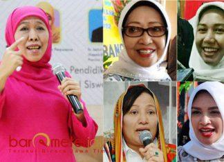 THE POWER OF EMAK: (Dari kiri searah jarum jam) Khofifah Indar Parawansa, Mundjidah Wahab, Ita Puspita Sari, Puput Tantriana dan Anna Mu'awanah. | Foto: IST/Barometerjatim.com/ABDILLAH HR