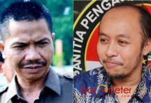 HENGKANG USIA DILENGSERKAN: Kaharudin (kiri) dan Debby Kurniawan, perseteruan di Demokrat berujung perpindahan Kaharudin ke Nasdem. | Foto: Barometerjatim.com/ABDILLAH HR/IST