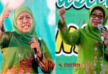 FENOMENA MUSLIMAT NU: Khofifah Indar Parawansa (kiri) dan Mundjidah Wahab, dua tokoh Muslimat NU di panggung kepala daerah di Jawa Timur. | Foto: Barometerjatim.com/ABDILLAH HR/IST