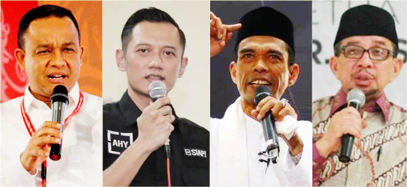 SPEKULASI CAWAPRES PENDAMPING PRABOWO: (Dari kiri) Anies Baswesan, Agus Harimurti Yudhoyono, Ustadz Abdul Somad dan Salim Segaf Aljufri. | Foto: IST