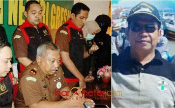 JASPEL BPJS DIKORUPSI: Kajari Gresik, Pandoe Pramoekartika saat memberikan keterangan pers (foto kiri) dan Kadinkes dr Moh Nurul Dholam. | Foto: Barometerjatim.com/DIDIK HENDRIYONO