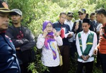 PEMERIKSAAN SETEMPAT: Majelis hakim dan JPU disaksikan masyarakat dan terdakwa saat memeriksa kerusakan di Gunung Lemongan. | Foto: IST