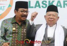 BELUM TENTUKAN SIKAP: Soekarwo (kiri) bersama KH Ma'ruf Amin saat menghadiri acara Muslimat NU. | Foto: Barometerjatim.com/DOK