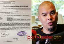 DILAPORKAN KE POLDA: Ahmad Dhani dilaporkan ke Polda Jatim gara-gara menyebut pendemonya di Hotel Majapahit dengan kata idiot. | Foto: Barometerjatim.com/NANTHA LINTANG