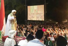 KAMPANYE 2019 GANTI PESIDEN: Habib Muhdor, selipi 2019 ganti presiden saat ceramah di acara majelis dzikir manaqib di Ponpes Al Qodiri, Jember, Kamis (27/9). | Foto: IST