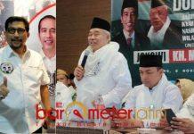 TAK BISA DIBANDINGKAN: JKSN (foto kanan) saat konsolidasi di Jawa Barat dan Ketua TKD Jatim, Machfud Arifin. Tak bisa dibandingkan.   Foto: Barometerjatim.com/ABDILLAH HR