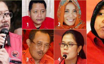 ADU KUAT BAMBANG DH-RISMA: Bambang DH (kiri) dan Risma, 'bisikannya' paling didengar Megawati. Para kandidat: Whisnu (1), Dyah Katarina (2), Armuji (3), Sri Untari (4).   Foto: IST