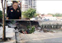 ADA MAIN PERIZINAN: Jalan Raya Gubeng yang ambles disebut akibat proyek basement RS Siloam. Armuji (iset) tengarai ada permainan perizinan yang melibatkan anak pejabat. | Foto: IST