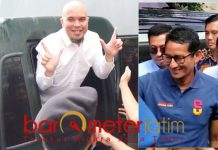 Sandiaga Uno (kanan) dan Ahmad Dhani, hadapi dengan senyuman!   Foto: Barometerjatim.com/natha lintang
