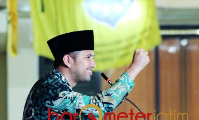 Salam Pergerakan! Emil Dardak di acara PKC PMII Jatim, Kamis (21/2/2019).   Foto: Barometerjatim.com/abdillah hr