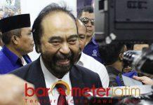Surya Paloh di kantor Bappilu Nadsem Jatim di Surabaya, Sabtu (9/2/2019). | Foto: Barometerjatim.com/roy hs